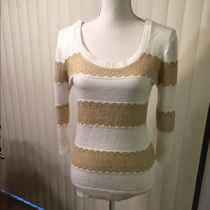American Rag White/Gold Sweater. Size S
